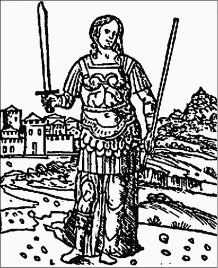Семирамида в образе амазонки. Гравюра XVIII в.