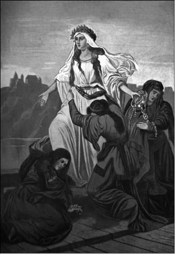 Смерть Ванды. Художник М. Пиотровский. 1859 г.
