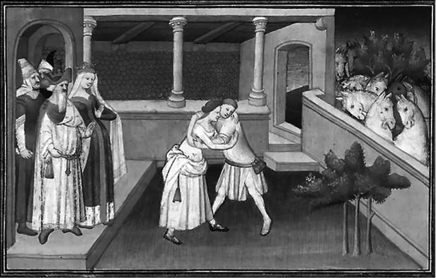 Хутулун борется с юношей. Миниатюра XV в.