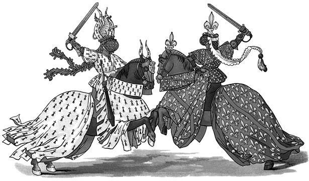 Рыцарский турнир. Рисунок со средневековой миниатюры