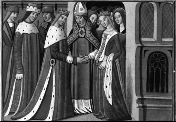 Бракосочетание Маргариты Анжуйской и Генриха VI Английского в 1445 г. Миниатюра XV в.
