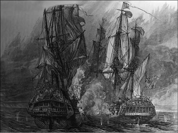 Атака пиратского судна. Гравюра XIX в.