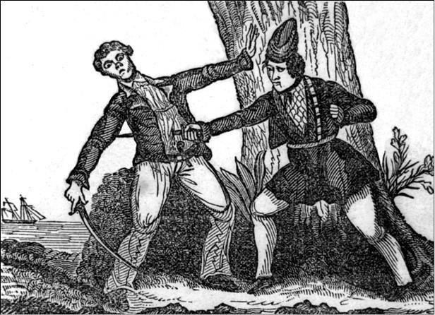 Мэри Рид поражает противника. Гравюра 1842 г.