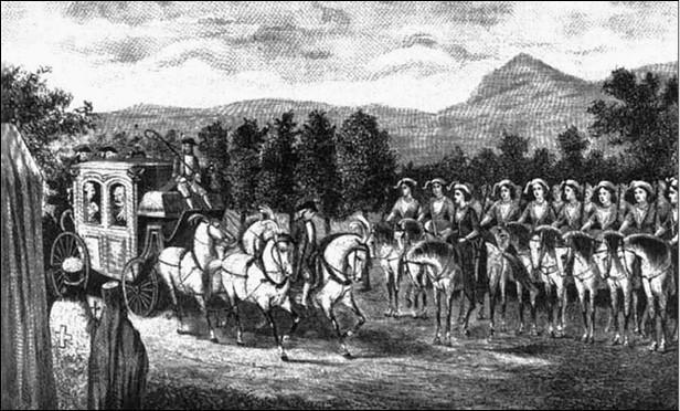 «Амазонская» рота встречает Екатерину II в Крыму. Гравюра конца XVIII в.