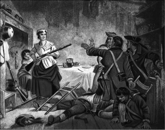Нэнси Морган-Харт захватывает вражеских солдат. Рисунок XIX в.