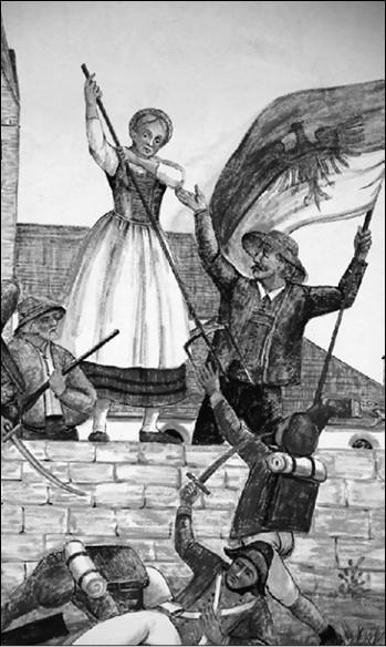 Катарина Ланц отбивает атаки французов. Рисунок XIX в.