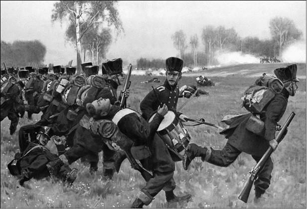Атака добровольцев Лютцова. Картина XIX в.