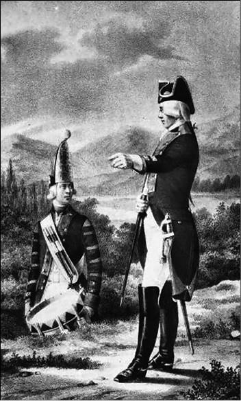 Офицер и барабанщик мушкетерского полка. Рисунок XIX в.