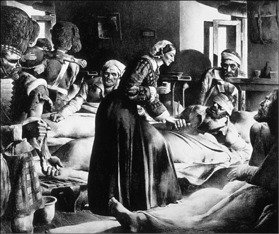 Флоренс Найтингейл ухаживает за ранеными. Рисунок XIX в.