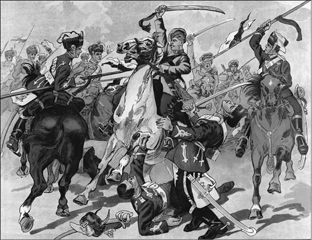 Казаки в бою. Рисунок 1914 г.