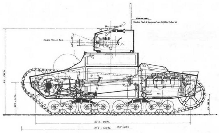 "Фотокопия рабочего чертежа танка ""Виккерс-Армстронг"" Mk.E mod.A"