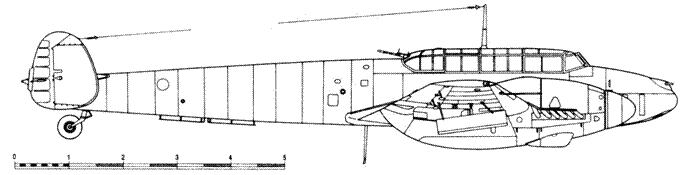 Messerschmitt Bf 110 G-2/U1 с направляющими для ракет WGr. 42