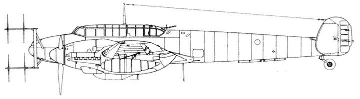 Messerschmitt Bf 110 G-4 с радаром Lichtenstein SN2 (FuG 220b) 2 x MG 151/20 в кабине пушки в носу фюзеляжа демонтированы