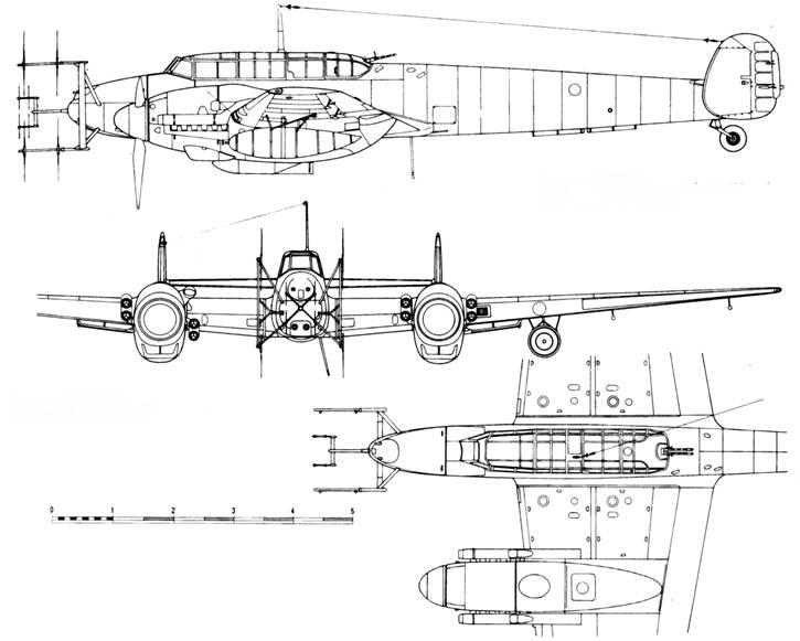Messerschmitt Bf 110 G-4 с радаром Lichtenstein SN2 (FuG 220b) и Lichtenstein C1 (FuG 212)