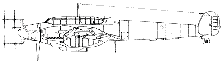 Messerschmitt Bf 110 G-4 с радаром Lichtenstein SN2b (FuG 220) вместо пушек Мк 108 установлены MG 151/20 с пламегасителями