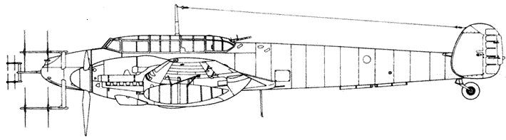 Messerschmitt Bf 110 G-4 с радаром Lichtenstein SN2c (FuG 220) и Lichtenstein C1 (FuG 212)