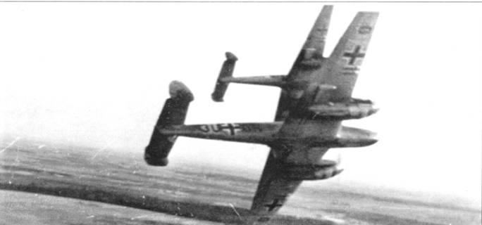 Самолеты 5./ZG-26 над Кентом, 2 сентября 1940 г. Самолет с бортовым кодом «3U+GN» был сбит британским истребителем, пилот обер-фельфебель Рохель и стрелок унтер-офицер Щоцлер пропали без вести.