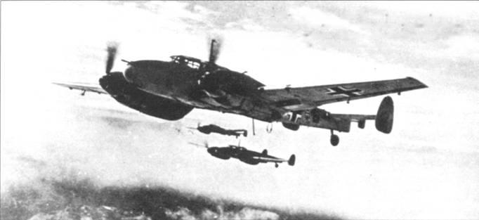 Самолеты Bf. 110 из ZG-26 в полете над балканскими горами. На Балканах немцы потеряли больше самолетов в результате аварий и катастроф, чем в воздушных боях или от зенитного огня.