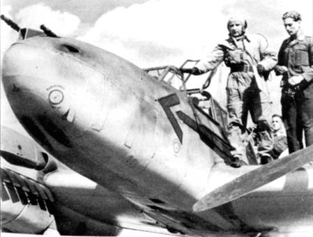 Командир 26-й эскадры подполковник Шальк, хорошо виден шеврон командира эскадры, нарисованный на самолете Шалька. Шальк до ноября 1940 г. командовал III/ZG-26, затем стал командиром гешвадера. После Битвы за Британию Шальк привел свой гешвадер через Балканы в Россию.