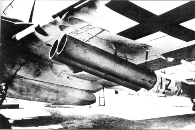 Ha Bf. 110F-2 испытывались 210-мм армейские неуправляемые ракеты Werfer- Granate. Ракеты позволяли поражать бомбардировщики, пе входя в зону эффективного огня их оборонительных пулеметов. Новое авиационное оружие испытывалось в Тарневитце. Испытания прошли успешно, после чего систему быстро запустили в серийное производство. Ракетными установками вооружались самолеты Bf. 110G.