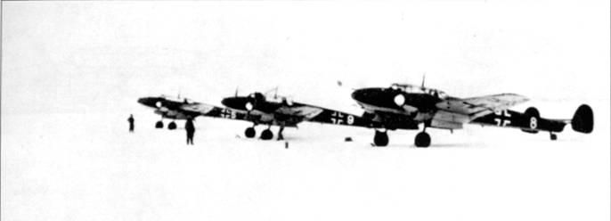 Зимой 1938 – 1939 г.г. самолеты Bf. НОВ поступили па вооружение I/ZG-1 и 1/ZG-76, в каждой группе были сформированы церсторерстаффет. Учебно-исследовательский гешвадер LG-1 также получил церстореры, поступившие па вооружение вновь сформированной группы l(Z)/LG-l. На снимке – самолеты из I/ZG-76.
