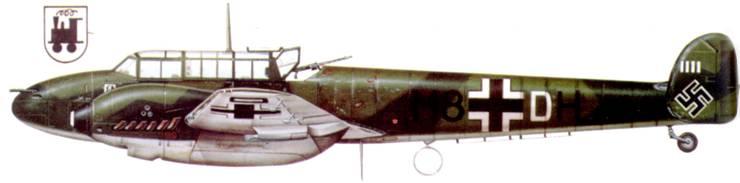 Bf. 110С-1 из 1./ZG-76 Хельмута Лента, посадка в Осло-Форнебю.