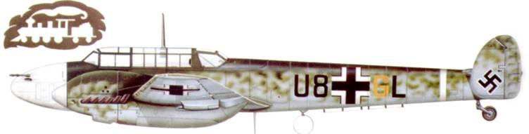 Bf. 110С-3 из 3./ZG-26, Битва за Британию. Носовая часть фюзеляжа окрашена легкосмываемои краской. Цвет идентификационной окраски порой менялся ежедневно.