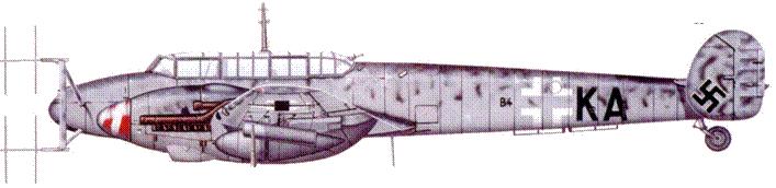 Bf 110 G-4/R3 с радаром Lichtenstein SN2b (FuG 220), IV/NJG 3, 1944 г.