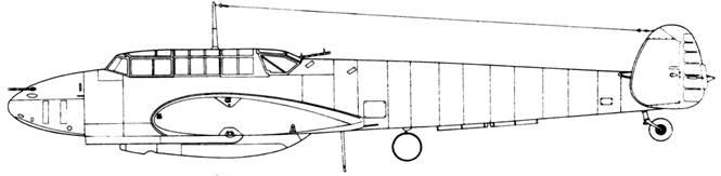 Messerschmitt Bf 110 C-6 под центропланом контейнер с пушками Мк 101