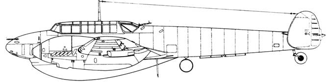 Messerschmitt Bf 110 D-1/R1 под центропланом 1200 л топливный бак