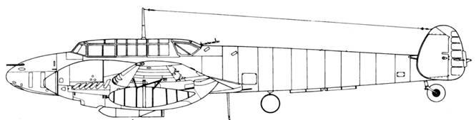 Messerschmitt Bf 110 D-2 с бомбодержателем ETC 500/IXb и 300 л топливными баками
