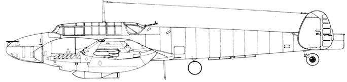 Messerschmitt Bf 110 Е-2 с 50-кг бомбами под крыльями