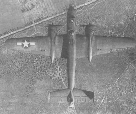B-25H-I с четырьмя 12,7-мм пулеметами в носовом обтекателе. Видны разнесенные бортовые огневые точки.
