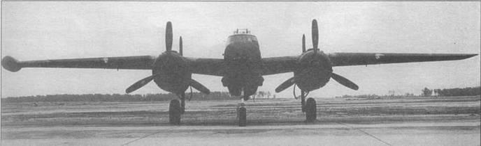 Черный PBJ-1H из VMB-614, вид спереди, июль 1944 года. Вместо оконцовки правого крыла установлен радар AN/APG-23.