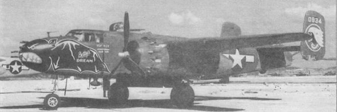 B-25J-30 (44-30934) с синей летучей мышью на носу, характерной для 499th BS, 345th BG. На хвосте эмблема 345th BG, Окинава, июль 1945 года.