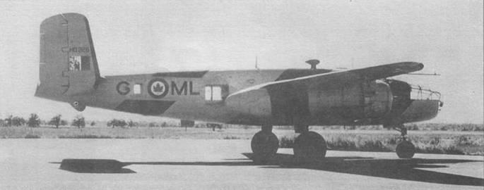 «Mitchell 111» из RCAF в окраске типа «High Visibility». По желтому фону нанесены черные полосы.