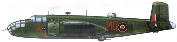 B-25D «Mitchell 11» MQ-A. FW239. 226 Sqn RAF. май 1944 года. Камуфляж Dark Green/Grey. На руле направления видно пятно закрашенного американского радиопозывного.