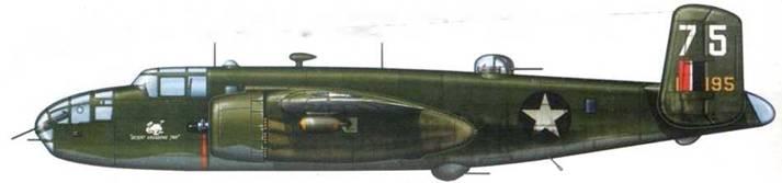 B-25Q-1-NA «Desert Vagabond Jr» из 434th BS, 12th BG, Северная Африка. 1943 год. Стандартный камуфляж Olive Drab/Neutral Gray. На хвосте английский «fin Jjash». который частично закрывает радиопозывной.
