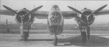 NA-40 В, вид спереди. Обратите внимание на узкий фонарь кабины, где члены экипажа сидели один за другим.