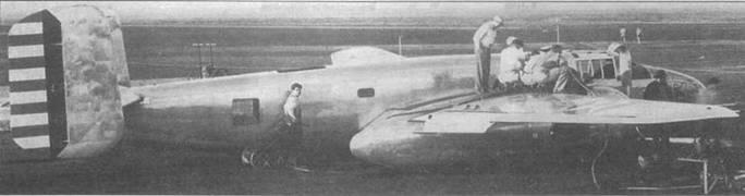 Первый В-25, у которого в ходе испытаний лопнул главный бензопровод правого мотора. Только благодаря опыту пилота Вэнса Бриза удалось спасти машину. Бриз посадил машину на брюхо между двумя ВПП на аэродроме Майнз-Филд.
