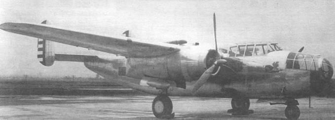 NA-40 еще оснащенный двигателями P & W R-1830 с выхлопной системой сверху и винтами Curtiss Electric. Нос получил остекление.