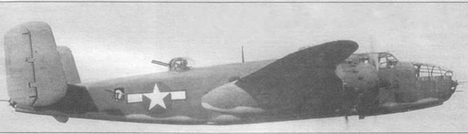 PBJ-1D — аналог B-25D в корпусе морской пехоты США. Двухцветный камуфляж Blue Gray/Light Gray. Снимок сделан в районе Тертл-Бей, Эспириту-Санто, февраль 1944 года.
