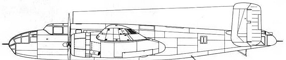 В-25-NA s/n 40-2165 машина использовалась для испытаний различных шайб вертикального оперения