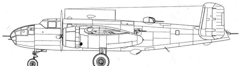 В-25D-5-NC машина с дополнительными пулеметами в бортах и в конце фюзеляжа