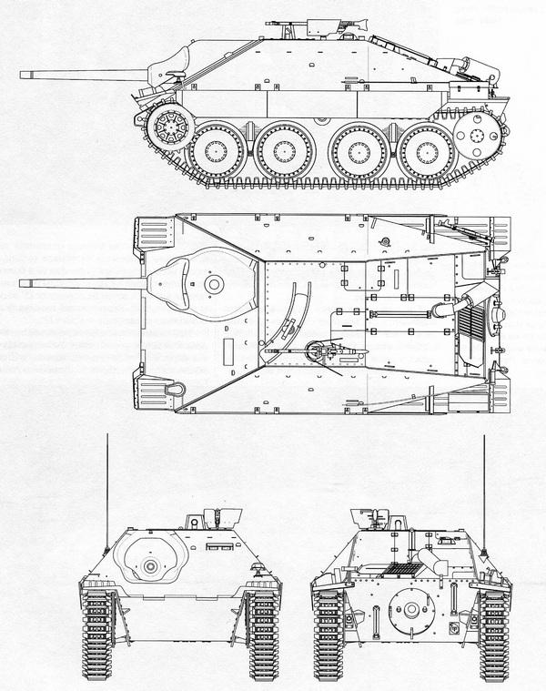 Jagdpanzer 38 Hetzer. Чертеж выполнил В.Мальгинов.