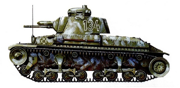 R-2 в зимнем камуфляже. 1-я танковая дивизия «Великая Румыния», район Сталинграда, ноябрь 1942 года.