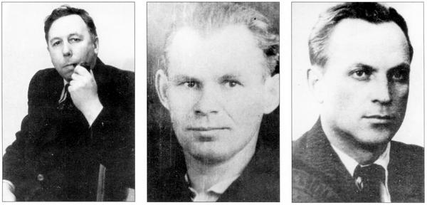 Создатели ЛаГГ-3: слева направо — С.А.Лавочкин, В.П.Горбунов, М.И.Гудков.