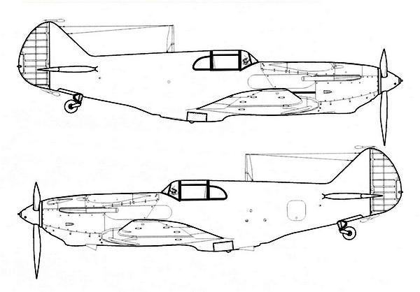 ЛаГГ-3 4-й серии завода №21. Обратите внимание на появление весовых балансиров на руле направления и неубирающееся хвостовое колесо.
