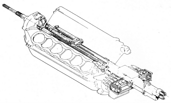 Схема установки пушки Ш-37 (АП-37) в развале блоков мотора М-105П.