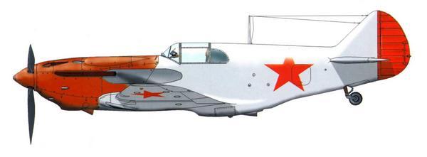 ЛаГГ-3, выпущенный заводом №31 в мае 1941г. В таком виде самолёты совершали первый полёт. Машина не окрашена, только загрунтована, но на неё уже нанесли красные звёзды. Капот покрыт глифталевым грунтом 138А, имевшим красно-коричневый цвет.